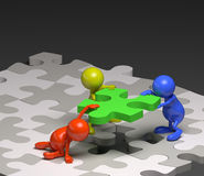 3d people teamwork with puzzle concept Stock Photography