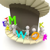 3D People Teamwork with Stairs and Letters Royalty Free Stock Image