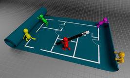3D People Teamwork, Working on Floor Plan Royalty Free Stock Photography