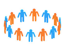 3d people in two circles. Orange and Blue 3d people in two circles Stock Photos