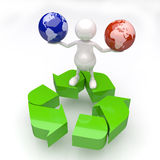 3D People with two Earth Globes in Hands with Recycle Logo. On White Background Royalty Free Stock Images