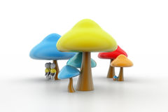 3d people under the mushrooms Royalty Free Stock Photography