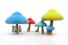 3d people under the mushrooms Royalty Free Stock Image