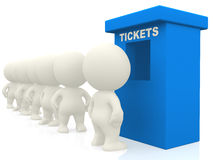 3D people waiting for tickets Stock Images