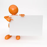 3D People with White Card Royalty Free Stock Photos