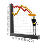 3d people woman with 3d chart and umbrella. 3d image. Isolated white background Royalty Free Stock Image