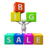 3D People with word big sale. Made from colorful blocks Stock Photography