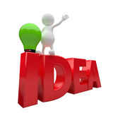 3D People with word idea and green lighting bulb Royalty Free Stock Image