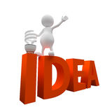 3D People with word idea and Lighting Bulb Royalty Free Stock Images