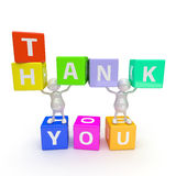 3D People with Word Thank You. On White Background Stock Image