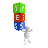 3D People with Word Yes. On White Background Royalty Free Stock Photos