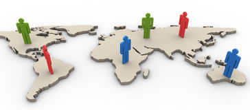 3d people on the worldmap Royalty Free Stock Photography