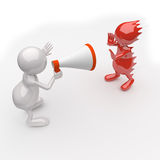 3D People Yelling in a Megaphone Stock Images