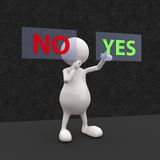 3D People with Yes and No Button. On Dark Background Royalty Free Stock Images