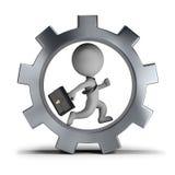 3d pequeña gente - hombre de negocios en la rueda de engranaje Imagen de archivo libre de regalías