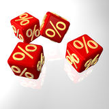 3D Per Cent Cube. Red cubes with golden per cent symbols Royalty Free Stock Photos