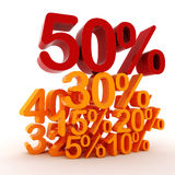 3D percent numbers. On white background Royalty Free Stock Photos