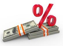 3d percent symbol and dollar packs Stock Photos