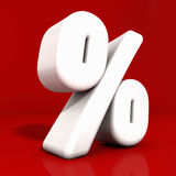 3d Percentage Icon. 3d white percentage icon with rounded edges and reflection obliquely angled on red Stock Photography
