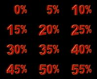 3d percentage signs. 3D rendered image on black background Royalty Free Stock Image