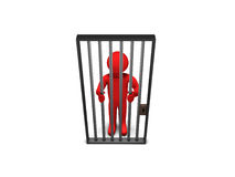 3D Person as Prisoner. Red 3d person as a prisoner Royalty Free Stock Image