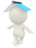 3D person balancing with a notebook Royalty Free Stock Image