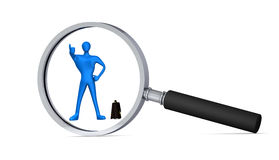 3d person behind magnifying glass. Best choice / 3d person with thumb up behind magnifying glass Royalty Free Stock Images