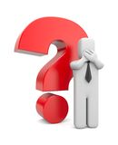 3d person businessman with red question mark. Image contain the clipping path Royalty Free Stock Images