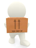 3D person carrying box Stock Photography