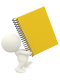 3D person carrying a notebook Royalty Free Stock Photo