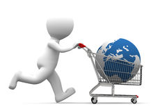 3d person carrying shopping cart with globe. Isolated on white background Stock Photo