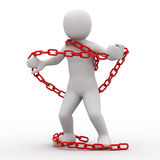 3d person and chain. 3d person and red chain on white background Royalty Free Stock Images