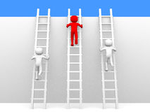 3d person climbing ladders Royalty Free Stock Photo