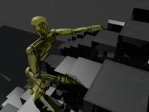 3D person climbing upstairs Royalty Free Stock Image