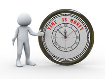 3d person and clock Stock Photography
