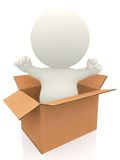 3D person coming out of a box Stock Image