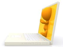 3d person coming out of a laptop Royalty Free Stock Photo