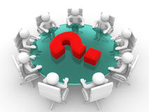 3d person at conference table and question mark Stock Photo