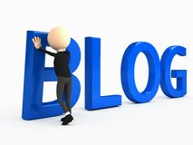 3d person creating blog. Computer generated image Stock Photography