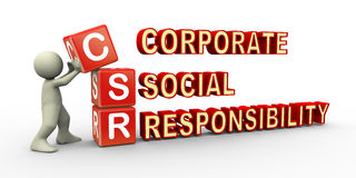 3d person and csr cube. 3d render of man placing csr (corporate social responsibility) cubes. 3d illustration of human character Stock Images