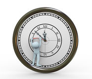 3d person and deadline. 3d illustration of man trying to stop clock.  3d rendering of human character Royalty Free Stock Photo