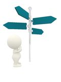 3D person with a direction sign Stock Photos