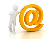 3d person with e-mail sign Royalty Free Stock Images