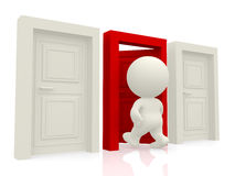 3D person entering a door Royalty Free Stock Images