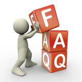 3d person and faq cube Royalty Free Stock Photo