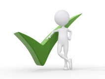 3D person getting it right with a green check mark. Isolated over a white background Royalty Free Stock Photo