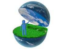3d person on globe Stock Images