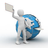 3d person, globe and letter Royalty Free Stock Photography