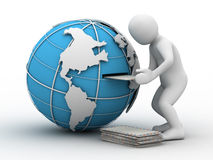 3d person, globe and letter. On white background royalty free illustration