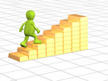 3d person, going on a ladder from gold ingots Royalty Free Stock Photos